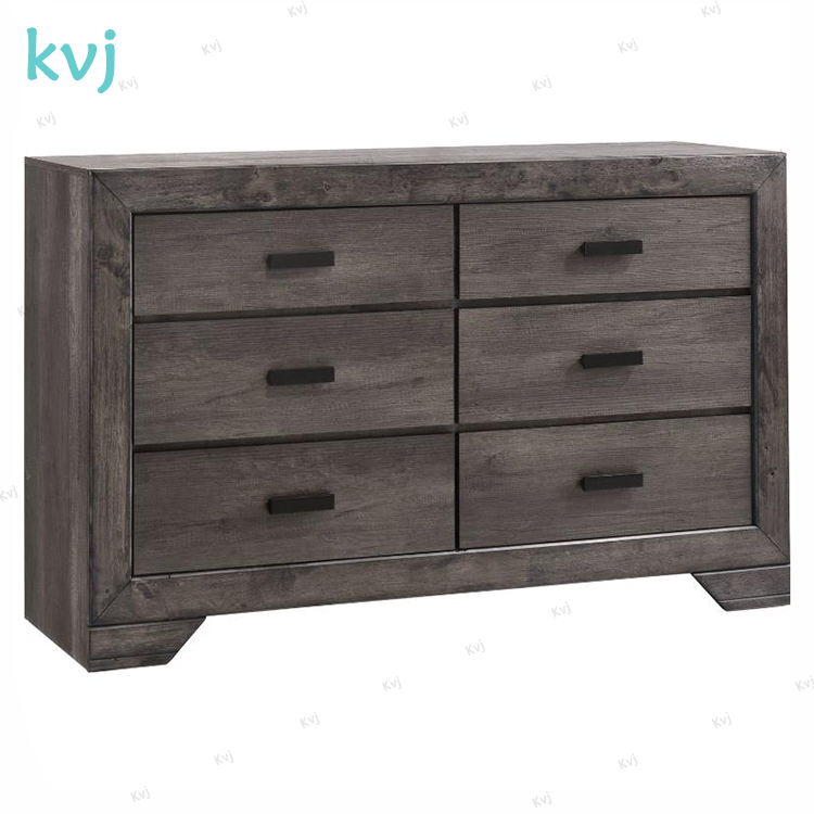 KVJ-8037 distressed walnut finish chest six drawers wood cabinet