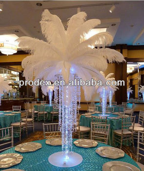 Artificial white ostrich feather for wedding decoration centerpiece