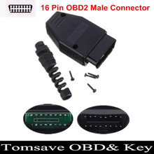Free Shipping 16 Pin OBD2 OBDII Male Connector Plug Adapter Wiring Connector Diagnostic Tool