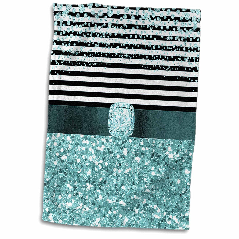 3dRose Anne Marie Baugh - Glitter and Chic - Diamond Stripes, Aqua Digital Glitter and Diamond Design - 15x22 Hand Towel (twl_267803_1)