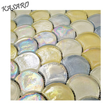 Iridescent glass tiles yellow fish scale mosaic tile