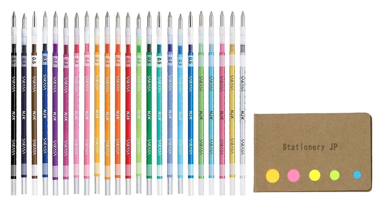Zebra Sarasa Select Multi Pen Refill, 0.5mm 23 Color Refills, Sticky Notes Value Set