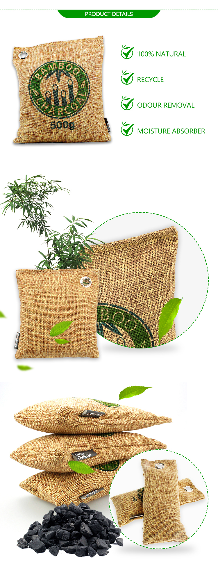 200g activated Bamboo Charcoal air purifying bag