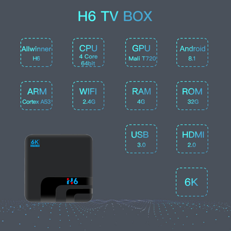 UUVISION Голосовое управление Android 8,1 android tv box с tf-картой H6 Smart Tv Box TV Box Android 6k