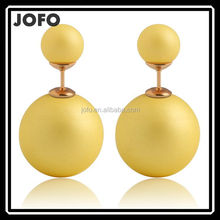 8 Colors 2015 Genuine Brand Designed Trendy Cute Charm Double Pearl Statement Ball Stud Earrings Accessories Jewelry For Women