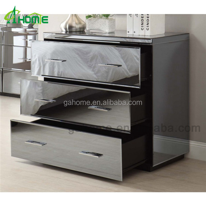 modern glossy crystal mirrored chest of drawers in grey finish