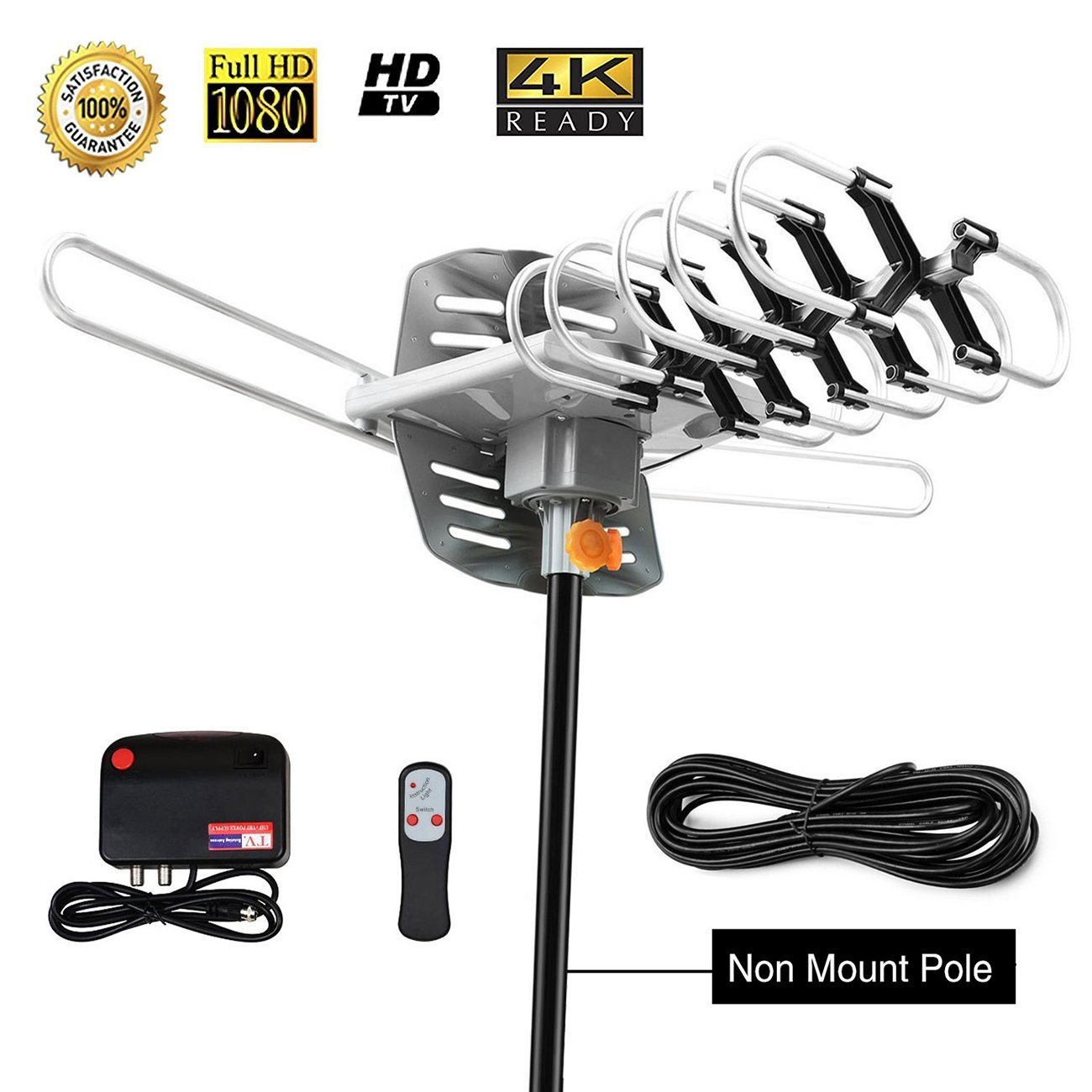 HD TV Antenna,Sobetter Amplified Outdoor 150 Mile Range Digital TV Antenna with UHF/VHF/FM - 360°Rotation - High Performance Outdoor Antenna for digital TV, 32.8-Feet Coax cable(Without Pole)