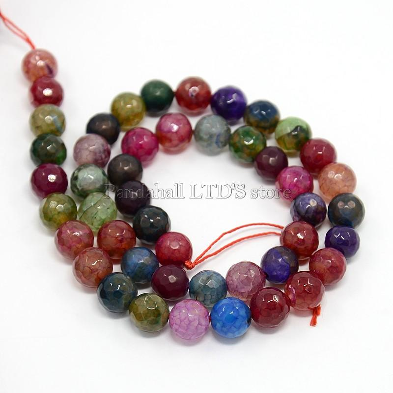 Natural Agate Beads Strands, Dyed, Faceted, Round, 8mm, Hole: 1mm; about: 47pcs/strand, 15""