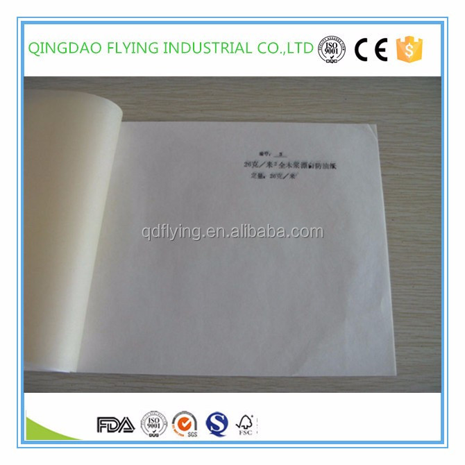 Kolysen custom grease proof paper 26-40 gsm for food packing