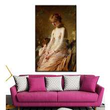 Hot Sell Painting Picture Ideas Modern Home Decoration Wall Art on Canvas Semi Nude Girl and Little Angel Oil Painting Printed