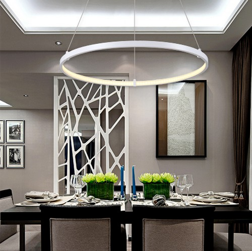 Led Hanging Light Fixtures: Creative Circle Ring Design Droplight Modern LED Pendant