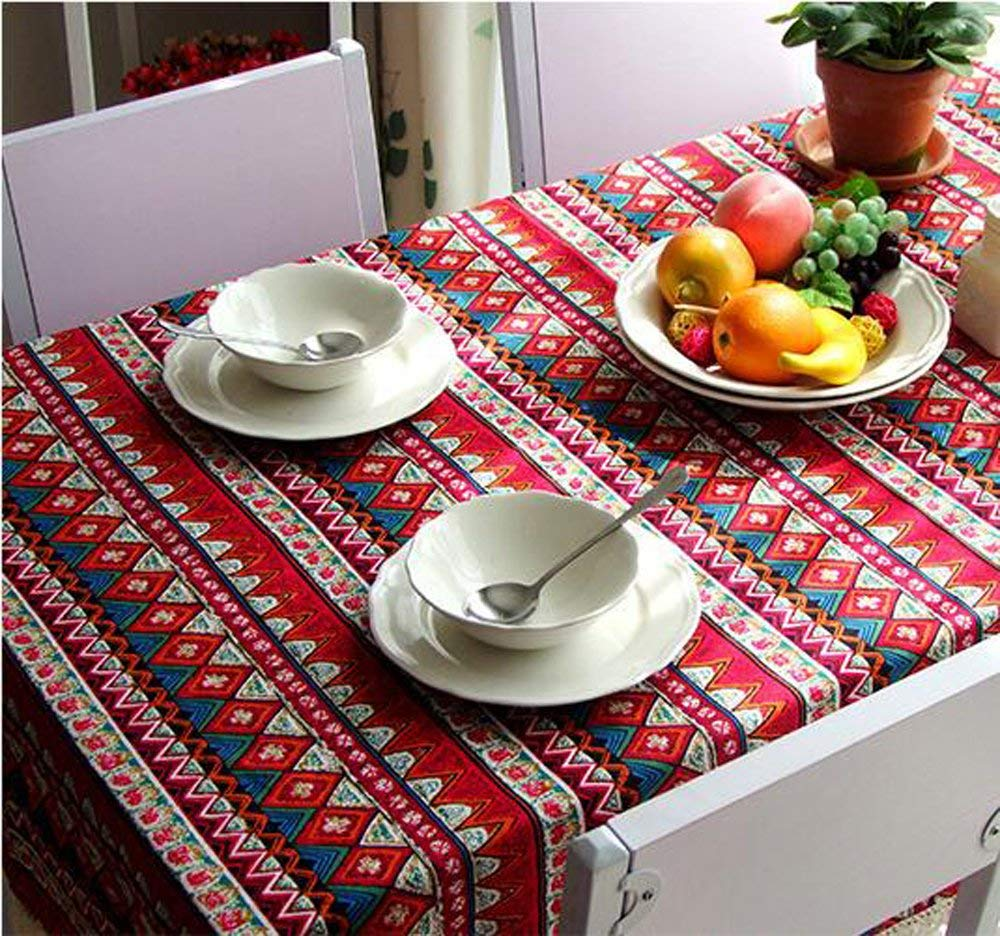 China Palaeowind Mediterranean, Cotton And Linen Table Cloth, Dust Cloth Bohemia Microwave, Bedside Cabinet Cover Fabric, Rectangular Tablecloths,A-140200cm