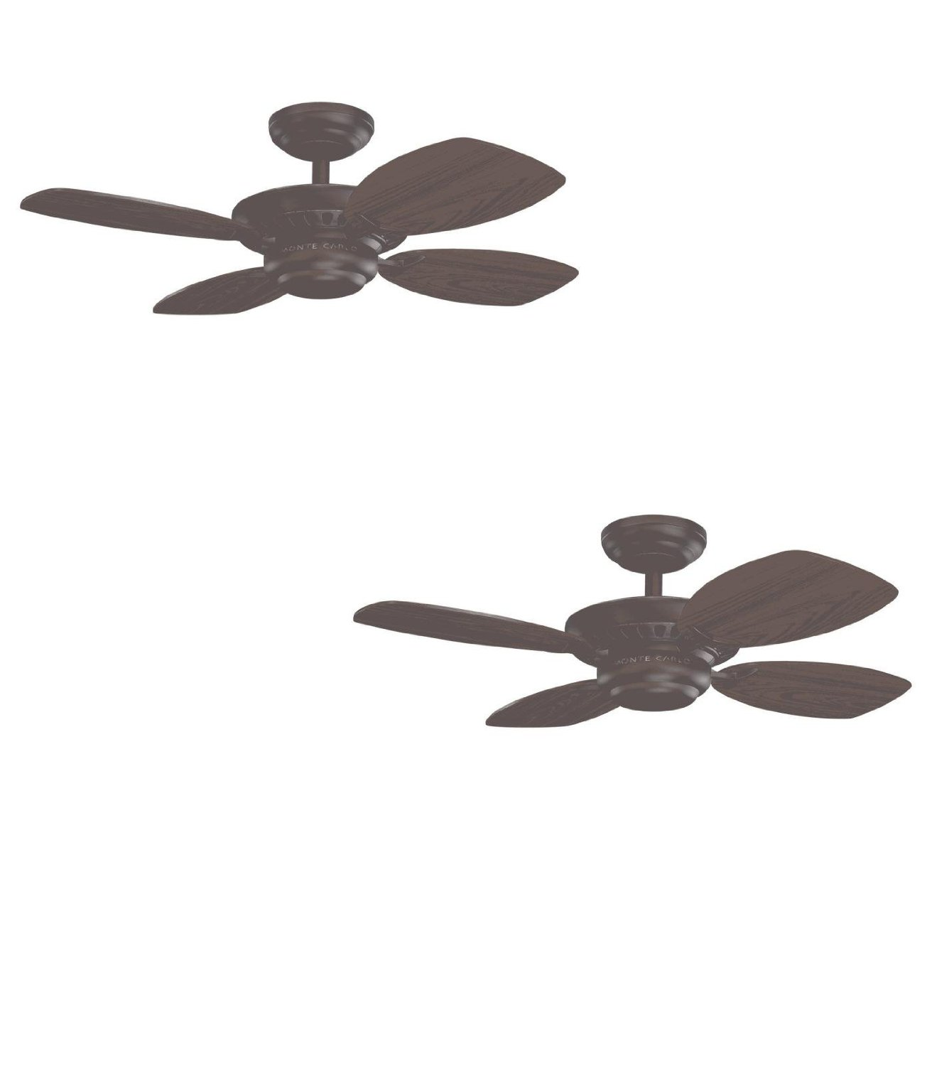 Set of Two - No. 4CO28RB - Colony II 28-in Roman Bronze Downrod or Close Mount Indoor Ceiling Fan (4-Blade) - Monte Carlo Fan Company