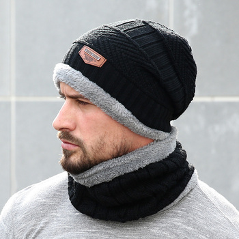 409ceac214d02c Neck Warm Men's Winter Hat Knit Cap Scarf Winter Hats For Men Thick Hat  Beanie Soft