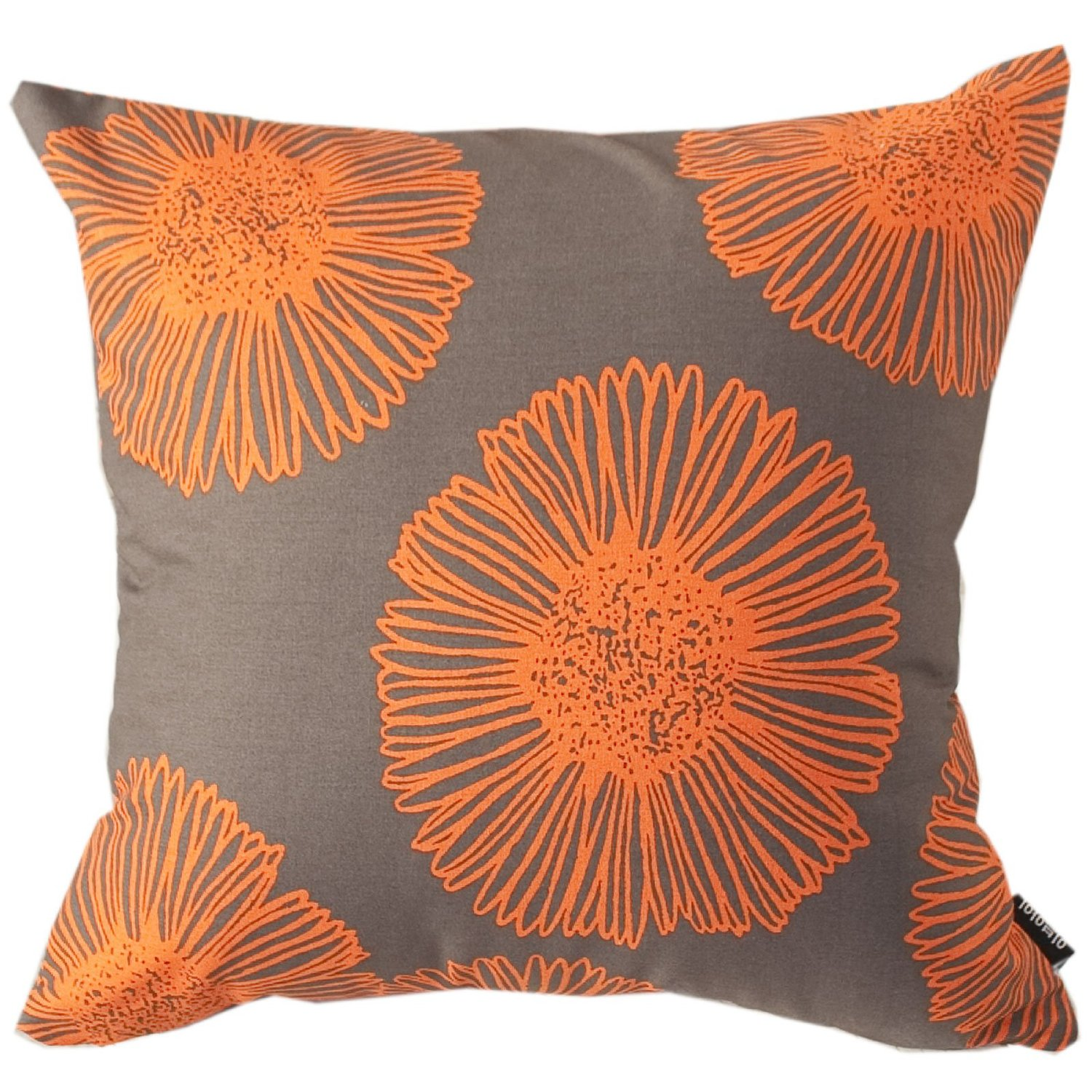 """Evei Big Orange Flowers Pattern Chocolate Color Cotton Home Decorative Throw Pillow Case / Cushion Cover Square 16"""" 18"""" 20"""" Choice (16""""x16""""inch(40x40cm))"""