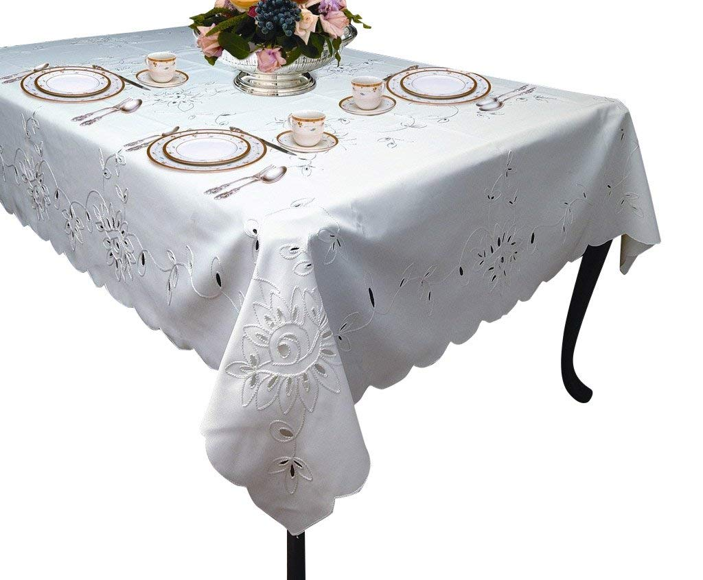 """Violet Linen Rivierra Embroidered Design Tablecloth, 70"""" x 105"""", White"""