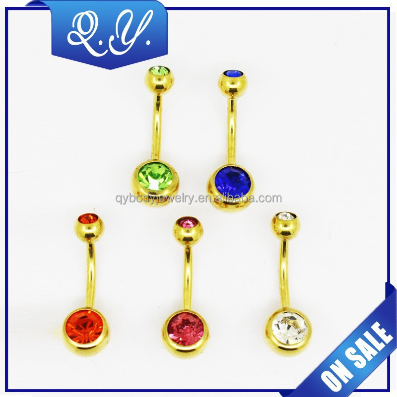 316L steel shining yellow magnetic navel rings
