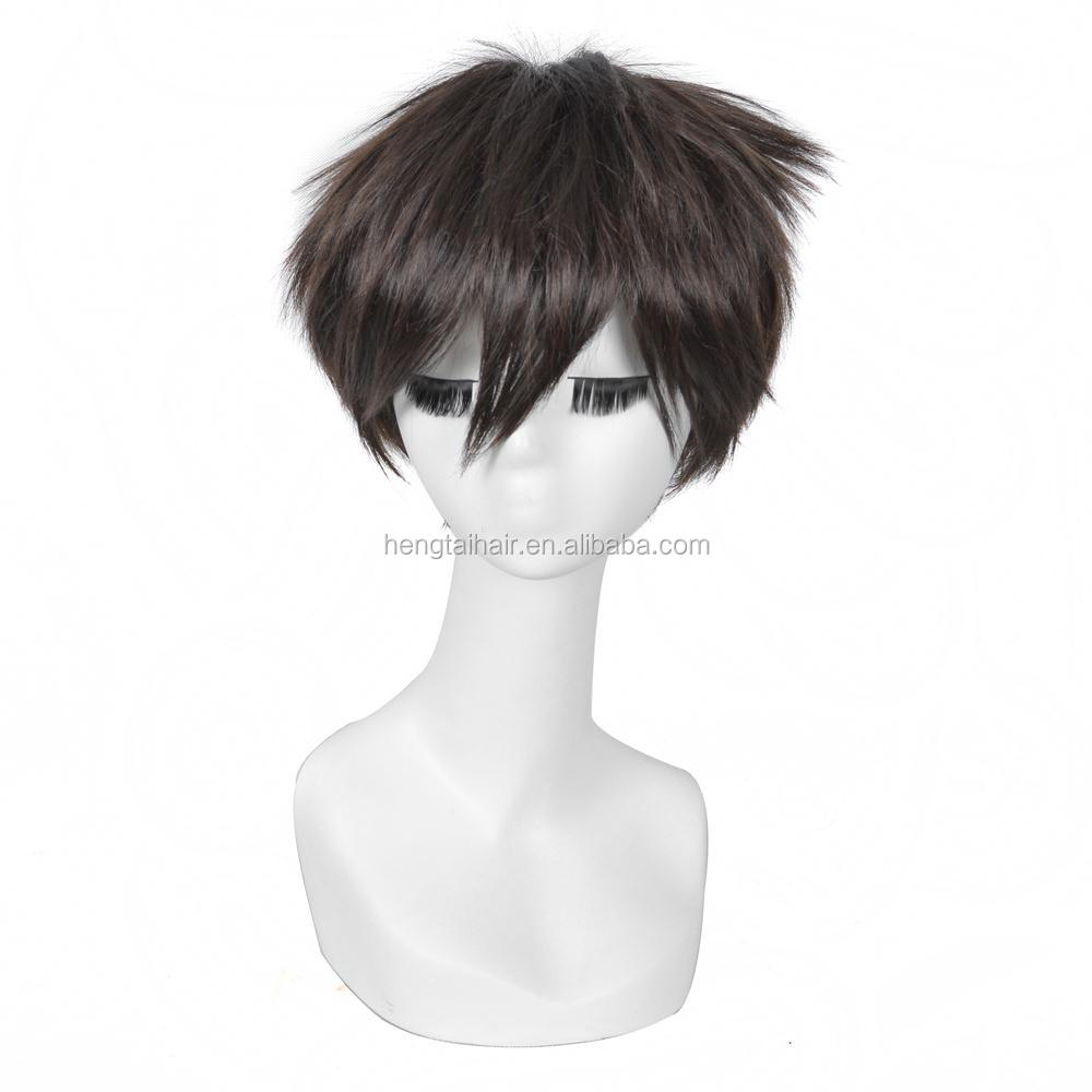 25cm Dark Brown Short Straight Haircut Anime Attack On Titan Eren Jaeger Cosplay Harajuku Male Wigs Cheap Synthetic Hair Men Wig