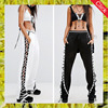 Sexy ladies side lace up casual sport track loose pants for women black and white joggers sweatpants with elastic ankle