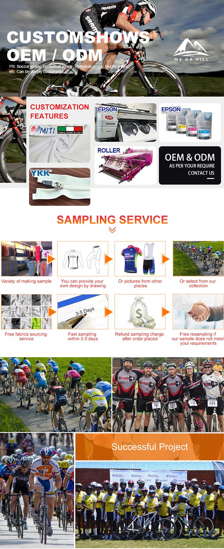 MEGAHILL usine vente en gros vêtements de cyclisme respirants vêtements de cyclisme rapide à sec