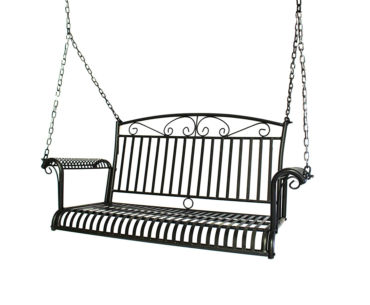 Courtyard Casual Black Steel French Quarter Outdoor Swing