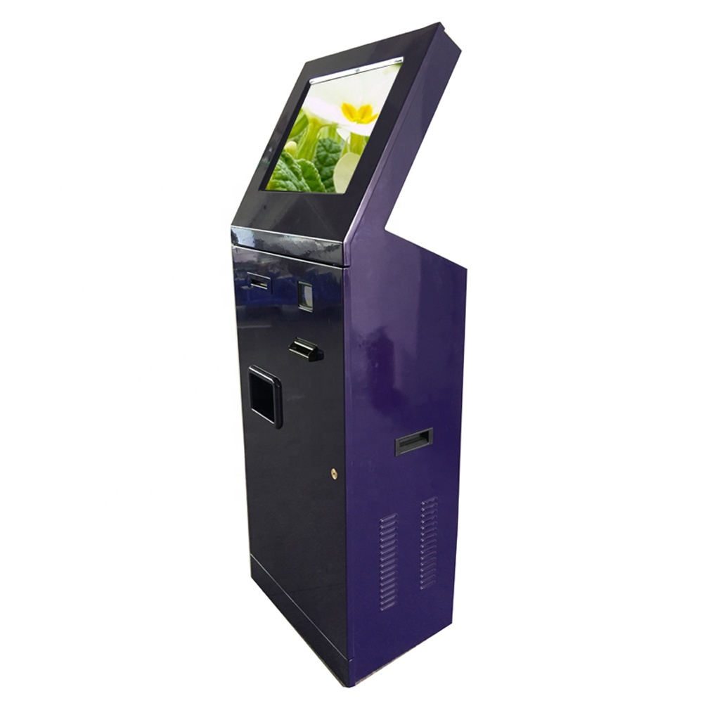 19 inch cold roll steel computer kiosk stands for mall with thermal printer/ bill acceptor/scanner/coin hopper