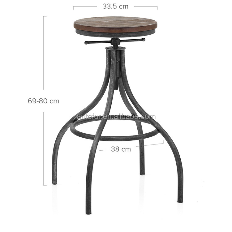 Adjustable antique designs wooden bar stool tops with foot rest