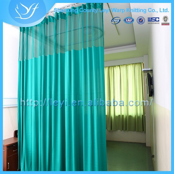 Ly 14 poli ster verde color ly hospital cama cortina de for Cortinas verde agua