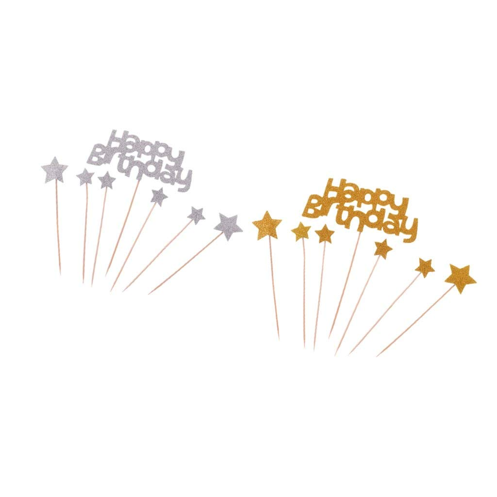 10c837ce4a8 Get Quotations · Homyl 2 Set Lovely Foam Happy Birthday Letters Star Cake  Topper Cupcake Picks Photo Prop Silver