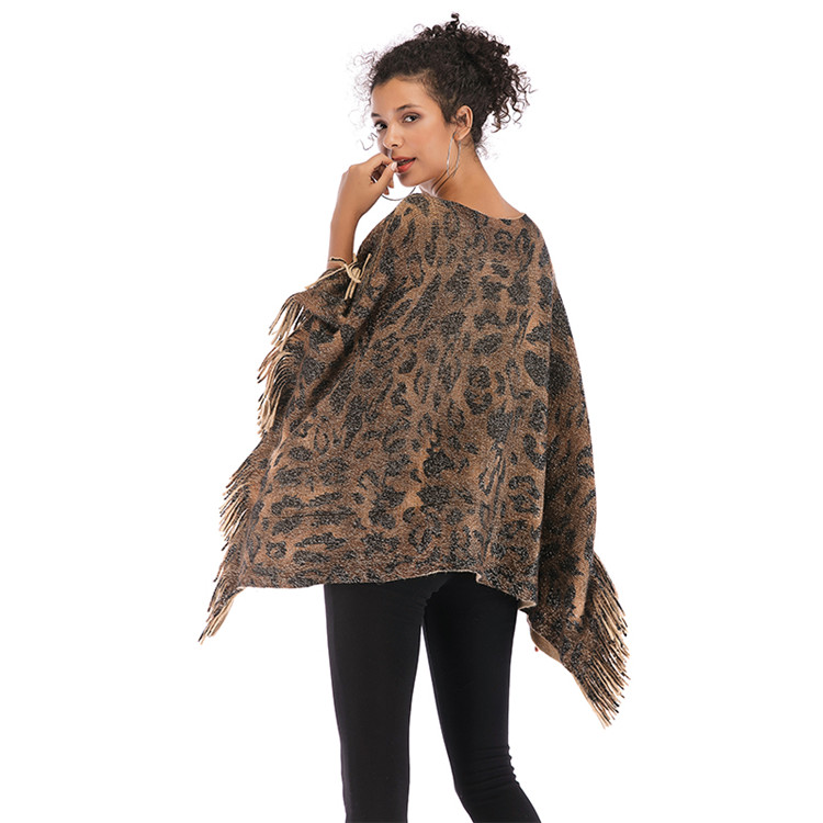 OEM ODM Service European Retro Tiger Print Pullover Tassel Shawl Lady Casual Cloak For Women
