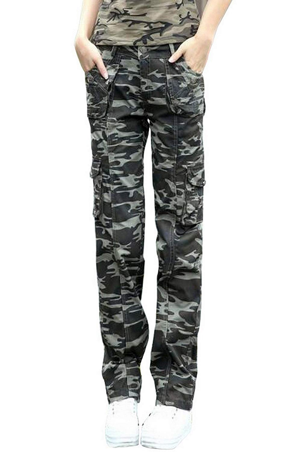 806d7f2ac4f41 Shoppi Women outdoor sports Multi-pocket 95% cotton trousers Overalls jeans  Ladies Military Camouflage