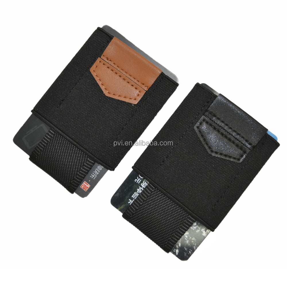 Slim Front Pocket Elastic Band Card Holder Wallet with Pull Tab and Coin Pocket