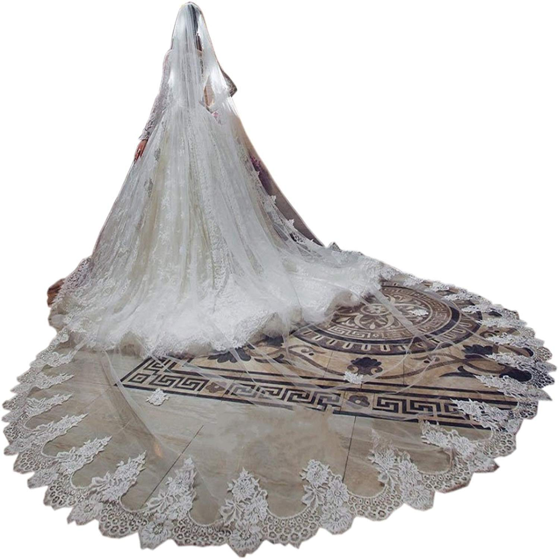 Ike Chimbandi 3 M 1 Tier White Ivory Wedding Bridal Veil Lace Edge with Comb