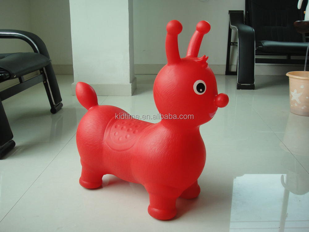 Small inflatable toys plastic animal hopper horse jumping saddle