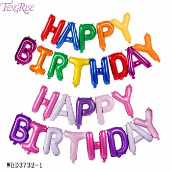 FENGRISE Happy Birthday Balloons Purple Orange Letter Aluminium Foil Party Decoration