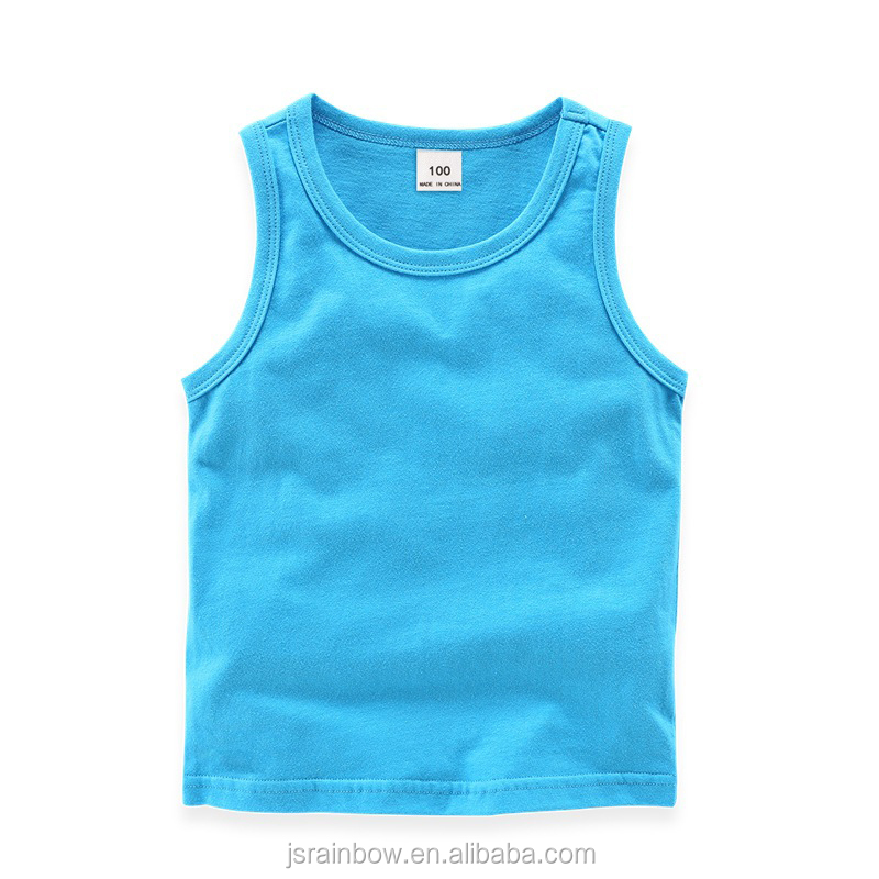 High quality wholesale OEM custom cotton kids vests baby boy girl tank tops