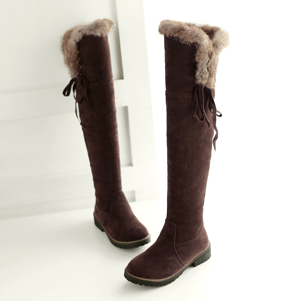6331768edd1f Get Quotations · Black Newest Over Knee High Boots Winter 2015 Suede  Ladies  Warm shoes for Women Thick