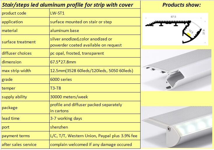 unique design cinema stair nosing aluminium led profile lighting for