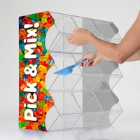 3 Tier Acrylic Candy Display Case Candy Bin Box, Custom Pick & Mix Dispenser Candy Dispenser