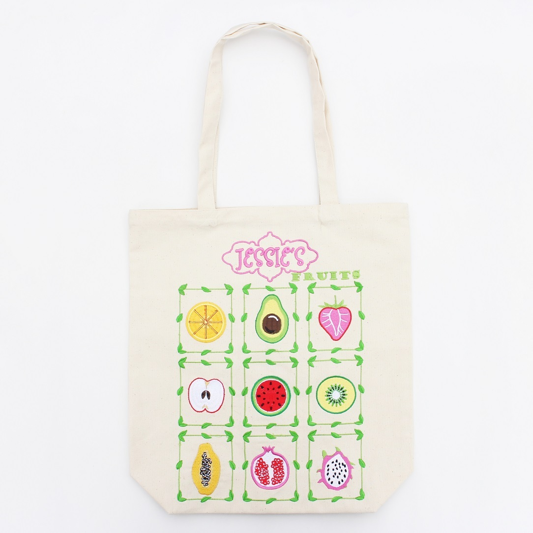 Fruits Embroidered Cotton Canvas Tote Bag
