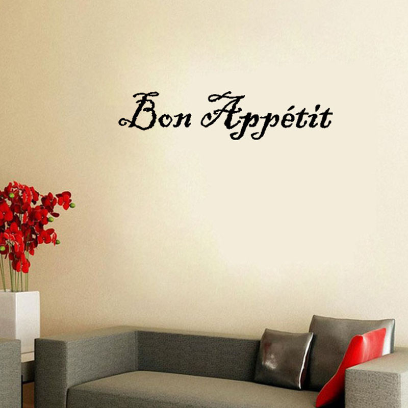 Bon Appetit French Modern Style Wall Sticker Home Decor Vinyl Art Wall Decals Remvable For Living Room