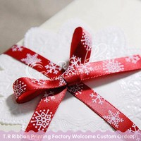 Christmas ribbon bow, Xmas card printed satin ribbon bow