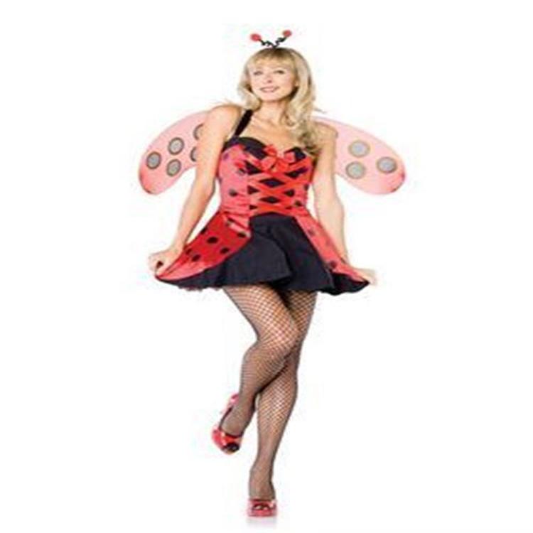 Sexy womens outfit adult lady bug ladybug costume red black polka dot mini dress