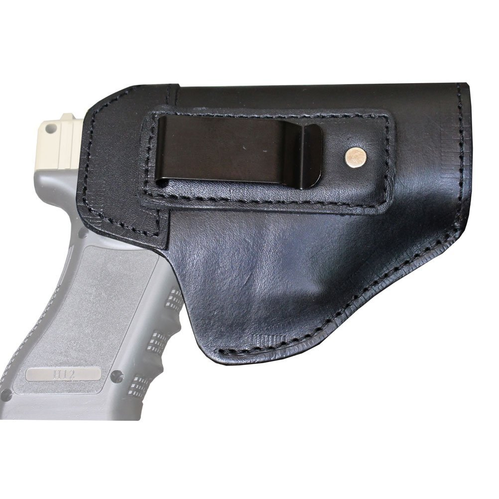 Leather IWB Holster, CCW Leather Concealed Carry Holster for S&W M&P Shield, GLOCK 17 19 22 23 32 33, Springfield XD & XDS Plus All Similar Sized (Right Hand)