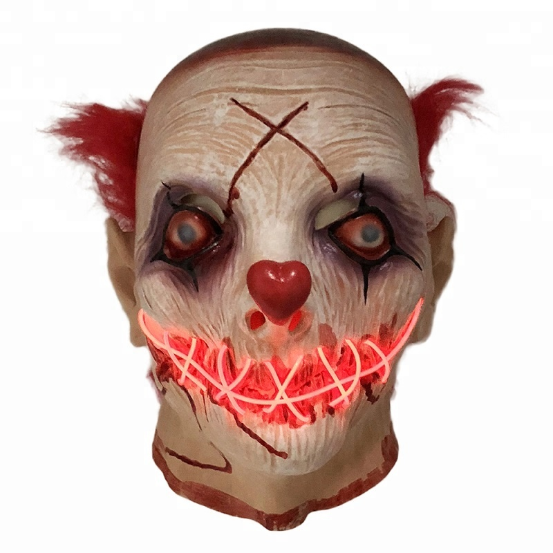 LED Latex clown mask Costume props for Halloween Theater