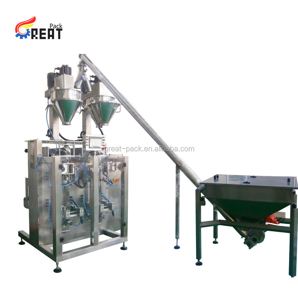 Continuous motion multi-lane sachet packaging machine for dry or liquid products