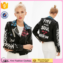 Leather motorcycle design high quality printed PU jackets for women