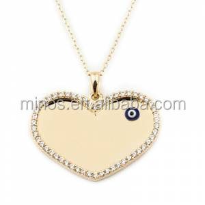 diamond heart pendant necklace with evil eye 18k gold necklace for ladies