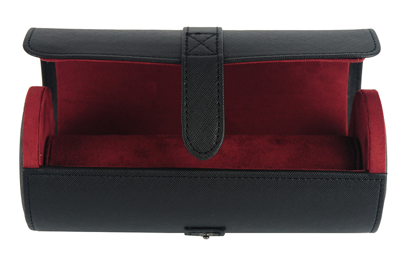 In Stock Luxury  3 Slot Travel Black Leather Watch Roll Box Case with Button Lock