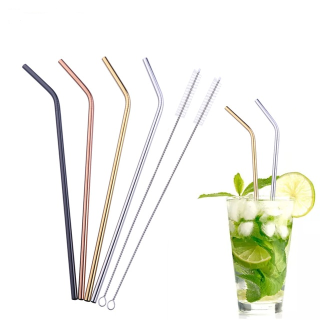 customized logo stainless steel drinking straw with brush
